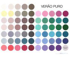verão puro: Coloração fria, mais delicada e mais opaca. baixo contraste, tons lavados, mais escuros e opacos. Temperatura fria.