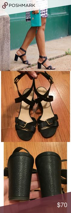 """J. Crew Buckled Mid-Heel Sandals, 8.5, EUC J. Crew Buckled Mid-Heel Sandals, Size 8.5, Black  In excellent, pre-owned condition, only worn twice -Made in Italy -Italian leather upper, leather lining. Adjustable ankle straps -From a smoke & pet free home -Any questions, just ask!  J. Crew describes: """"Soft Italian leather with crisscrossed ankle straps makes these summery sandals irresistibly cool, while a comfy block heel makes them perfect for the office—and the walk home, and the farmer's…"""