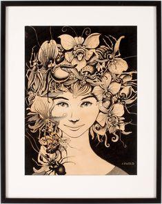 Flickporträtt med insekter Work In Sweden, Bukowski, Illustration Artists, Kitsch, Scandinavian, Signs, Lilac, Auction, Novelty Signs
