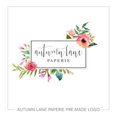Premade Logo Design Flower Frame Logo by AutumnLanePaperie Logo Floral, Flower Logo, Watercolor Logo, Watercolor Flowers, Shabby Chic Logo, Etiquette Vintage, Website Logo, Branding, Brand Identity