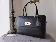 Mulberry Del Rey (Larger Sized) in Black Glossy Goat with Nickel Hardware > https://www.npnbags.co.uk/naughtipidginsnestshop/prod_5661974-Mulberry-Del-Rey-Larger-Sized-in-Black-Glossy-Goat-with-Nickel-Hardware-New.html