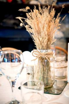 30 Fall Rustic Country Wheat Wedding Decor Ideas rustic wheat mason jar wedding centerpiece / www. Wedding Centerpieces Mason Jars, Fall Wedding Decorations, Table Decorations, Wheat Centerpieces, Wedding Ideas, Wedding Inspiration, Mason Jar Weddings, Western Wedding Centerpieces, August Centerpieces