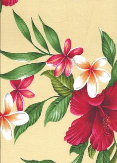50'U hene Hibiscus plumeria, fern and palm fronds on cotton apparel fabric. More fabrics at: BarkclothHawaii.com