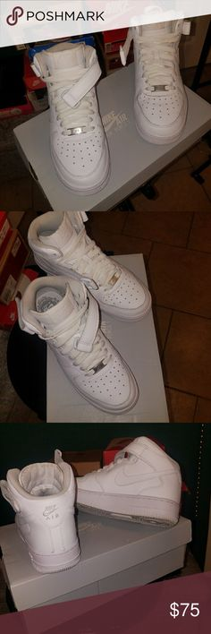 New Nike Air Force 1 Mid  All White 5.5Y / 7W *Nike Air Force 1 Mid *Size 5.5 Youth or 7 Women's *All White *Like New *meaning I wore them less 5 times  *Still Stark White *Practically ZERO toe creasing *look at pics *Price is Firm Unless part of bundle  NO TRADE Nike Shoes Athletic Shoes