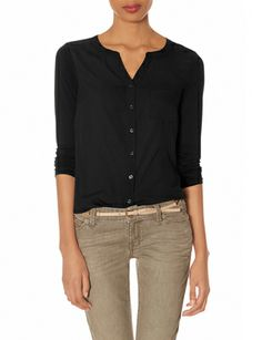 Woven Front Henley Blouse from THELIMITED.com