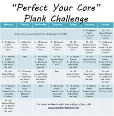 Take the Perfect Your Core Plank Challenge and find those abs you have been wanting to see! For more FREE monthly exercise challenges, visit www.heandsheeatclean.com #plank #fitness #exercise #challenge #abs #heandsheeatclean #core