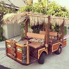 OMG our golf cart! Bar Lounge, Tiki Lounge, Tiki Bars, Tulum, Outdoor Tiki Bar, Outdoor Decor, Tiki Hut, Tiki Tiki, Tiki Decor