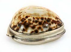 A George II/III Irish silver mounted cowrie shell snuff box, by Bartholomew (or Benjamin) Stokes, Dublin c.1760