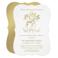 Corporate Holiday Party Elegant Gold Reindeer Card