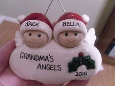 polymer clay grandmas angels ornament (could also make using salt dough or other types of clay)