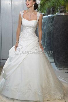 Natürliche Taile Duchesse-Linie formelles Brautkleid mit Applike mit breiter Träger