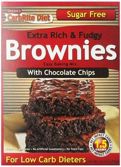 Doctor*s Carbrite Diet Chocolate Chip Brownie Mix, Sugar Free 11 Oz Sugar Free Brownies, Chocolate Chip Brownies, Chocolate Chips, Keto Brownies, Low Sugar Diet, Sugar Free Diet, Gourmet Recipes, Low Carb Recipes, Diabetic Recipes