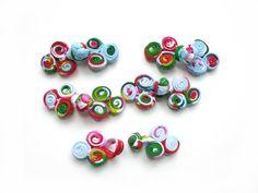 Bouton chinois, brandebourg 60mm tissu multicolore : Boutons par cosmopoline