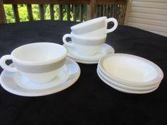 9-Pc-PYREX-Corning-Gray-PLATINUM-Band-DOUBLE-TOUGH-Cups-Saucers-amp-Dessert-Bowls