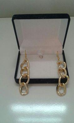 Gold Chain Fishhook Earrings.  #diybymirelle