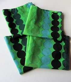 Marimekko Vintage Green Blue Black Four Rasymatto Cloth Napkins Maija Louekari