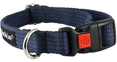 Cotton Web Adjustable Dog Collar with Locking Device 4 Sizes Blue (Small: Neck 11.5'-15.5'; Width 1/2') * Learn more by visiting the image link.(It is Amazon affiliate link) #company