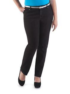 Plus Classy Fit Black 5 Pocket Skinny Jeans ... $18.80