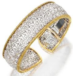 Buccellati gold lace and diamond bracelet. Via Diamonds in the Library.