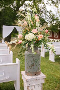 Wedding Flowers rustic milk jug ceremony flowers - Peach And White Nostalgic Wedding photographed by Paige Williams Photography with event design by HFI Weddings and Events Church Wedding Flowers, Church Wedding Decorations, Ceremony Decorations, Flower Bouquet Wedding, Chic Wedding, Floral Wedding, Rustic Wedding, Wedding Country, Wedding Ideas
