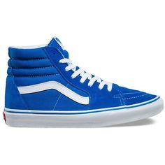 Vans Suede Canvas SK8-Hi ($65) ❤ liked on Polyvore featuring men's fashion, men's shoes, men's sneakers, blue, mens canvas shoes, mens canvas sneakers, mens suede shoes, mens blue sneakers and mens blue shoes