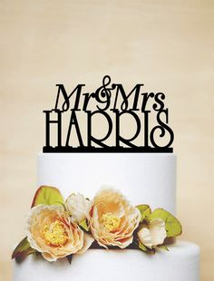 Mr And Mrs Wedding Cake Topper With Last Name by AcrylicDesignForYou