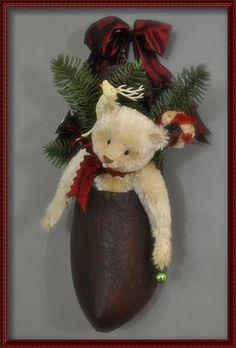Lori Ann Corelis  Christmas bear--Love the wooden shoe