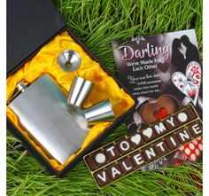 Valentine Home Chocolate with Liquor Silver Hip Flask Gift Set and Love Card