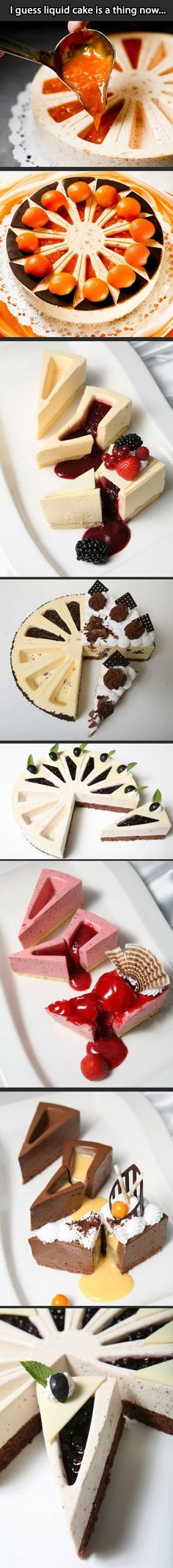 I'd eat it. I'd eat it. I'm thinking plain cheesecake with liquid strawberry :DLiquid cake? I'd eat it. I'm thinking plain cheesecake with liquid strawberry :D Just Desserts, Delicious Desserts, Yummy Food, Baking Desserts, Yummy Yummy, Sweet Recipes, Cake Recipes, Dessert Recipes, Food Cakes