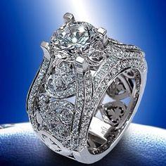 Jewelry Diamond : Round Brilliant diamond center stone surrounded by everything gorgeous. - Buy Me Diamond Diamond Rings, Diamond Jewelry, Jewelry Rings, Jewelry Accessories, Jewelry Design, Jewlery, Diamond Heart, Bijoux Art Deco, Do It Yourself Jewelry