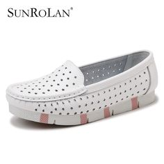 SUNROLAN 2017 Women Cut-out Shoes Slip-on Loafers Ladies Causal Round Toe Nurse Split Leather Flats Shoes Driving Shoes HYT979