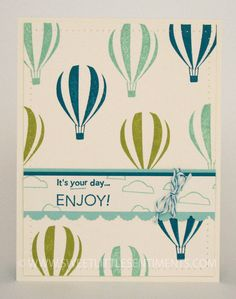 Sweet Little Sentiments - handcrafted, hot air balloon birthday card