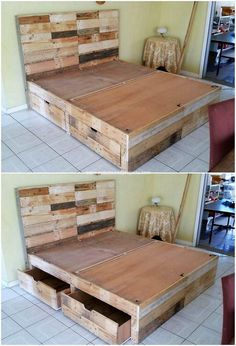 15 Awesome Homemade Bed Frame Plans – Home Decoration Diy Pallet Bed, Wooden Pallet Projects, Wooden Pallet Furniture, Diy Projects, Pallet Ideas, Wood Pallets, Pallet Wood Bed Frame, Pallet Room, Pallet Bench
