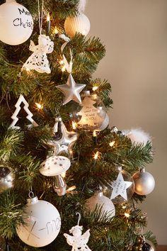 #kerstbal #koper #kerstboom #versiering #decoratie #blokker #zilver #wit