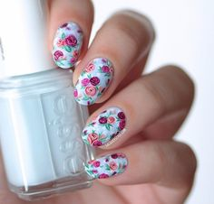 Beautiful nails 2016, flower nail art, Manicure nail design, Nails ideas with flowers, Nails with ornament, Oval nails, Rose nail art, Roses nails