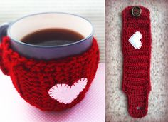 Valentine's Day Mug Cozy (Free Pattern) - 13 Free Patterns for DIY Crochet Mug Cozies | GleamItUp