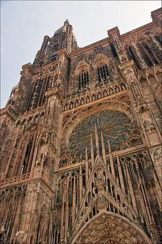 Strasbourg Cathedral or the Cathedral of Our Lady of Strasbourg, also known as Strasbourg Minster, is a Roman Catholic cathedral in Strasbourg, Alsace Region, France. by dixie Aachen Cathedral, Strasbourg Cathedral, Cathedral Church, La Provence France, Places To Travel, Places To See, Wonderful Places, Beautiful Places, Church Architecture