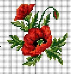 Cross stich chart, two red poppies