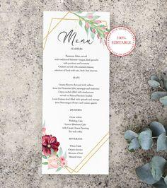 Boho Burgundy Menu Card Template, Floral Wedding Custom Menu , Greenery Bridal Dinner Card, Table Decor, Instant Download, Templett.  #weddings #decoration #green #wedding #christmas #red #rustic #editabletemplate #weddingmenu #burgundy #floral
