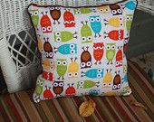 Owl Pillow in Blues Reds Oranges and Teals by PoppintreeHollow