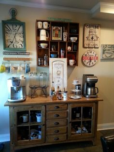 veja que show ficou este coffee bar para casa no estilo vintage diy coffee stations for home attractive coffee bar home 4