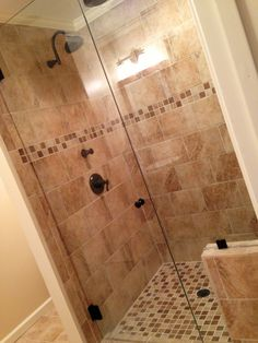 "Tiled Bathroom Beige tile shower with bench. 9""x12"" tile used for this beige tile"