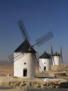 Line of Windmills Above the Village of Consuegra, Ruta De Don Quixote, Castile La Mancha, Spain Photographic Print by Michael Busselle - Architecture Old Windmills, Spain And Portugal, Architecture Old, Water Tower, Le Moulin, Spain Travel, Madrid, Scenery, Wind Mills