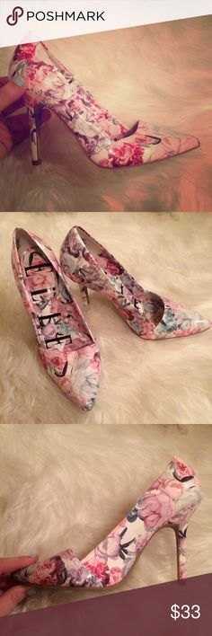 """Pastel floral pump - only worn once! LOVE these heels...but never have a time to wear them. Pointy pump with pastel floral pattern (pink, purple, blue & green). White background. About 3.5"""" high estimate. Perfect with jeans, a cocktail dress and more! Elle Shoes Heels"""