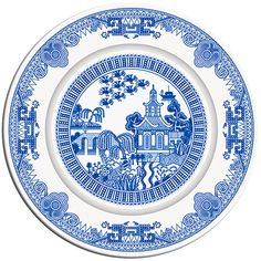 Calamityware plates. A series of at least 2 designs that combine traditional blue transferware images with scenarios that are a little more...lively.