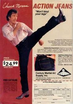 Developed by Chuck Norris for stunt fighting in action movies. These great looking western style jeans have a unique hidden gusset* which allows greater movement without binding or ripping.