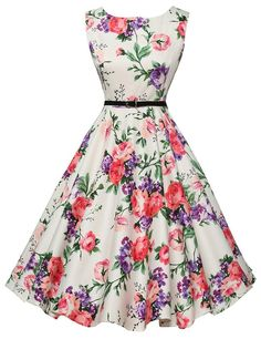 GRACE KARIN® Sleeveless Cotton Vintage Tea Dress with Belt VL6086 (Multi-Colored): Amazon Fashion