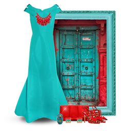 """""""Vintage Door: Red & Teal/Turquoise"""" by majezy ❤ liked on Polyvore featuring Zac Posen, La Regale, Laurence Dacade, Alexa Starr, Grayson and vintage"""