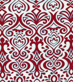 Quilter's Showcase Fabric- Damask Red, Blue & Cream