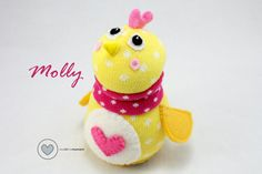 "Do you wonder what to buy a baby to help celebrate Easter?  Molly is here to help.  Find her on Etsy by Sewinthemoment (4"" tall)"